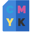 Custom Printing Icon- a blue sheet with the primary colors of printing, them being cmyk