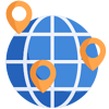 Shipping icon with a globe split into different sections with markers on certain parts of the globe symbolizing worldwide shipping