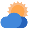 UV Protection Icon- with a little sun emerging from behind a cloud