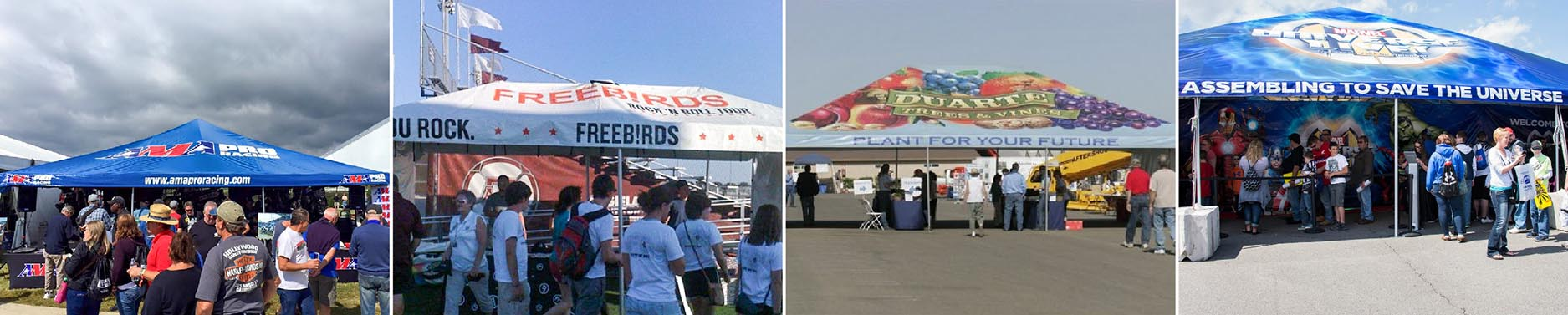 AMA Pro Racing, Freebirds, Duarte, and Marvel Standard Frame Tents