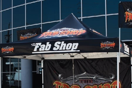 the fab shop custom printed canopy with custom printed canopy flags