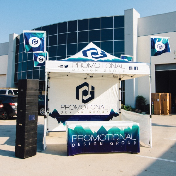 promotional design group pdg custom printed canopy flag package pop up tent