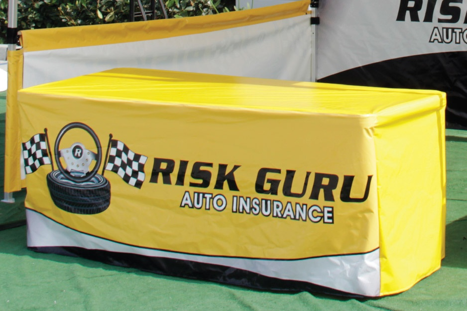 rish guru auto insurance printed table throw with color matching