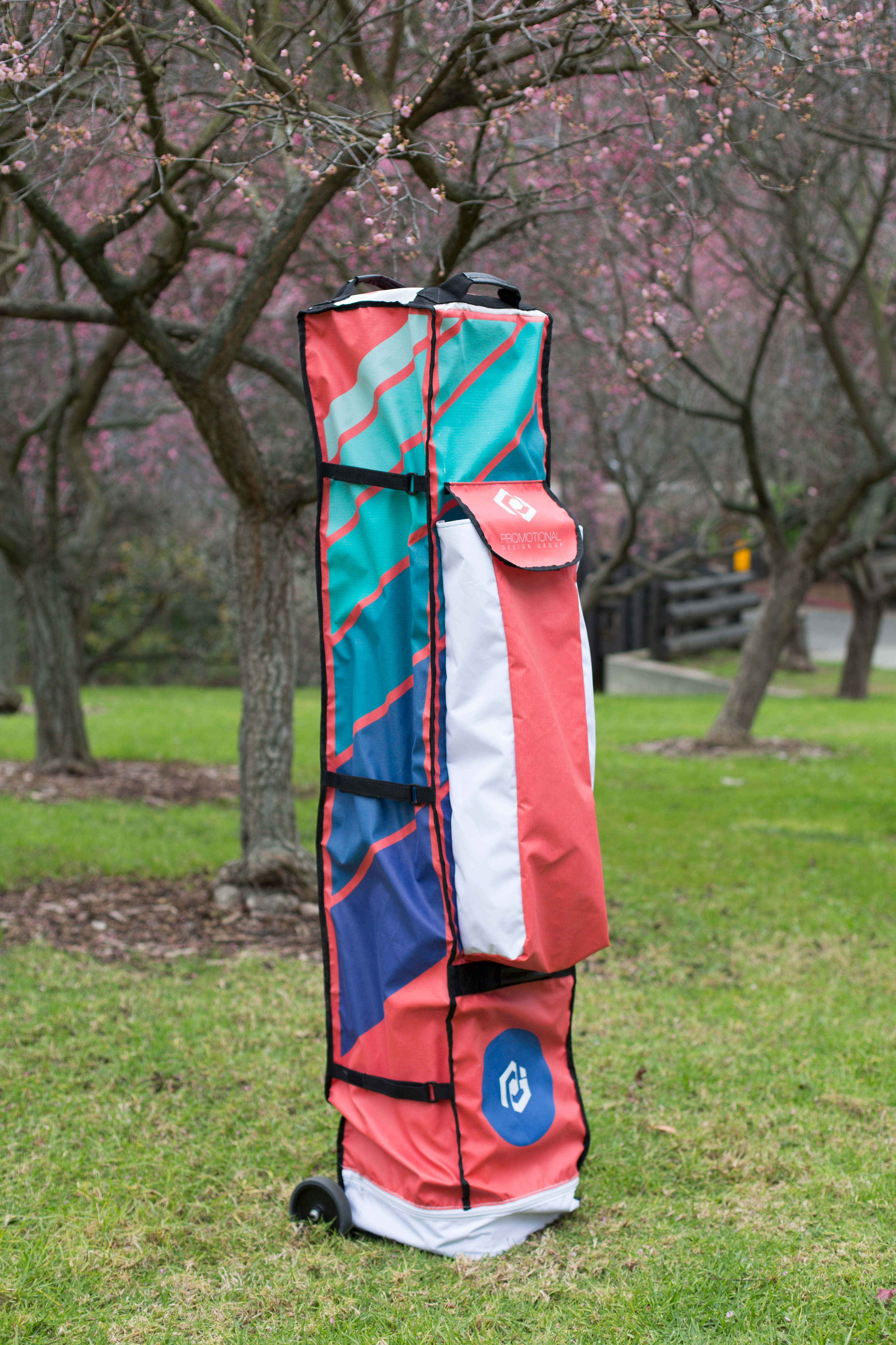 promotional design group pop up tent bag at Schabarum Park