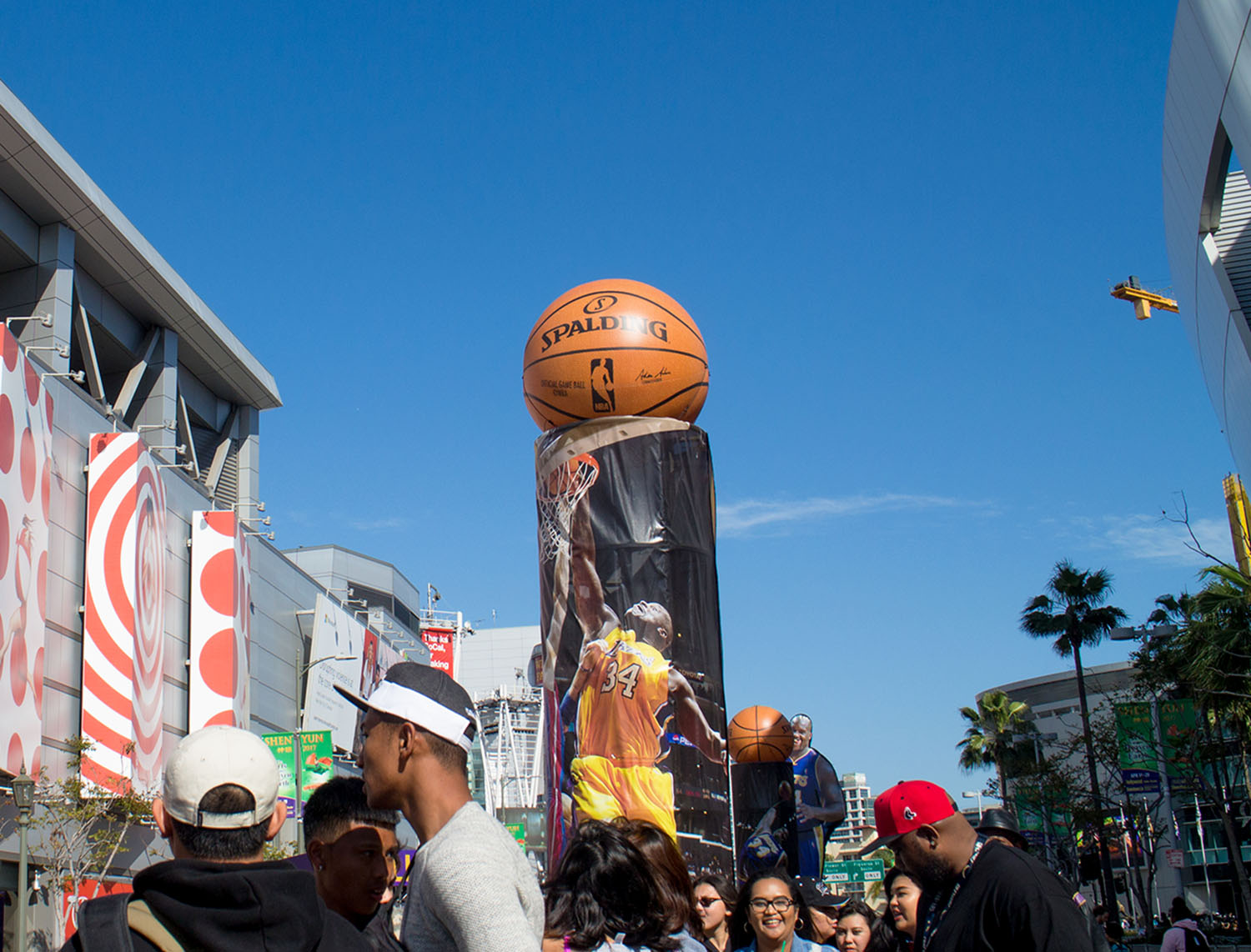 large inflatable basketball with printing at Staples Center