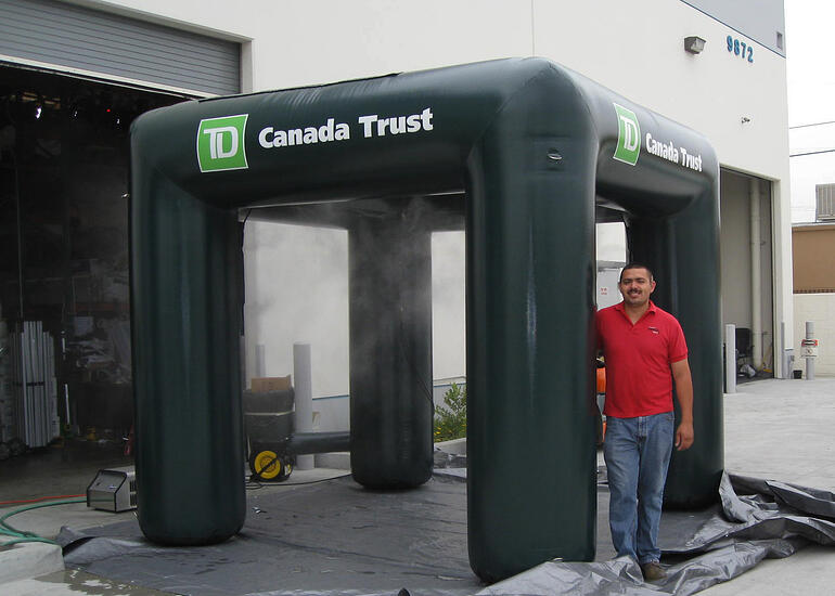 custom inflatable misting tent with printing