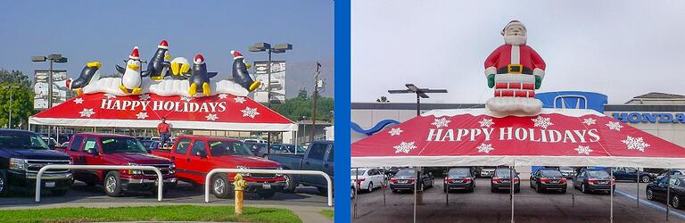 """(left)Penguins sliding on top of a tent labeled """"Happy Holidays, (right) Inflatable Santa Claus emerging from a chimeney on top of holiday tent"""