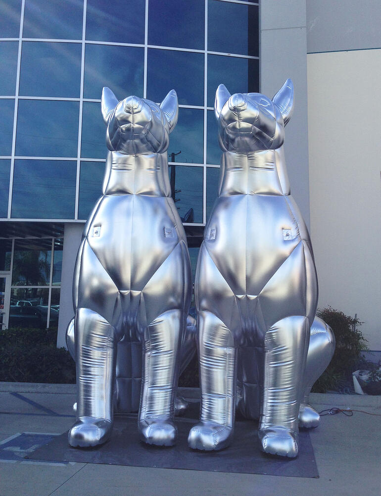 silver inflatable dog Doberman