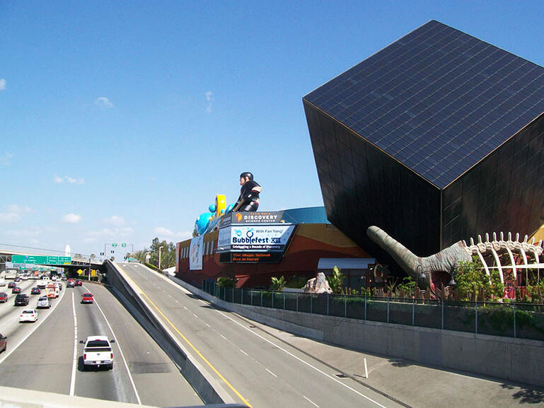 giant inflatable sign at musuem