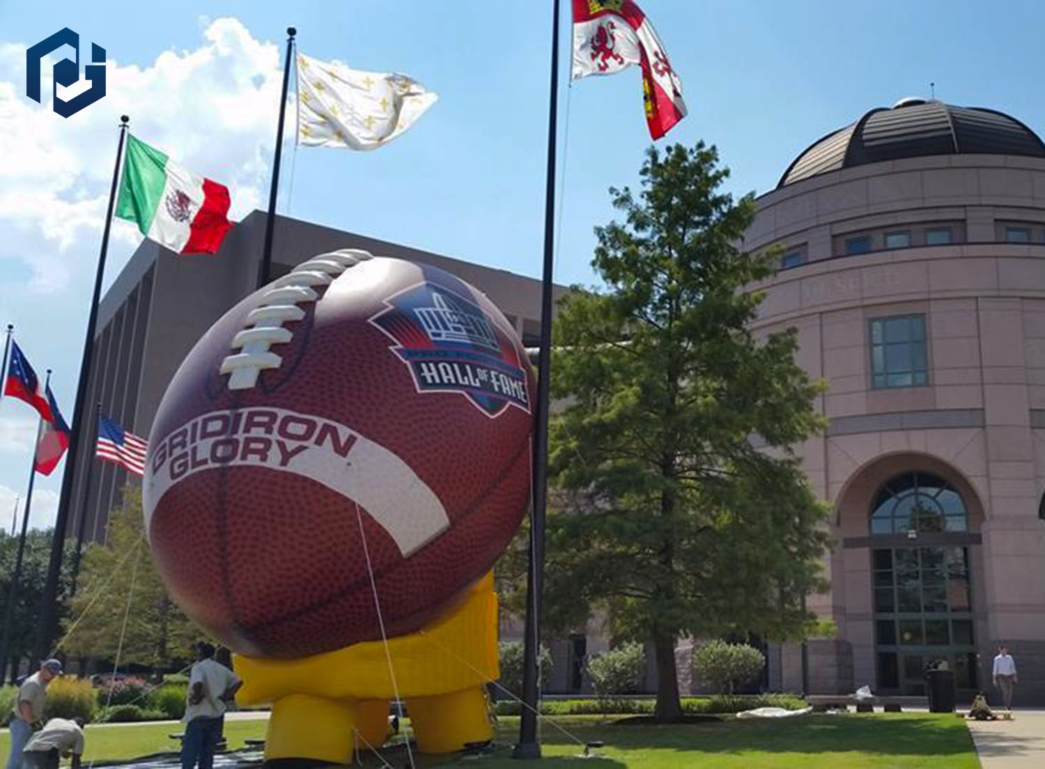 inflatable football prop union station logo