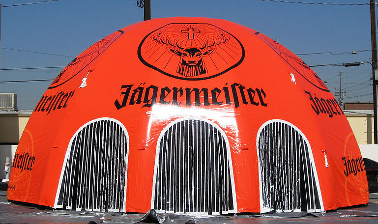 printed inflatable dome tent with custom doors
