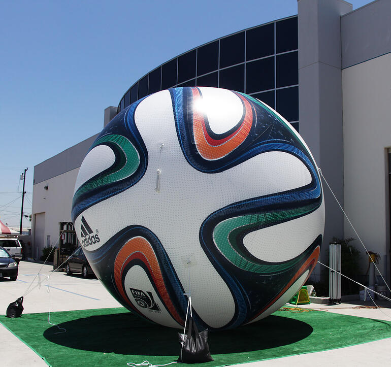 giant inflatable soccer ball prop with printing