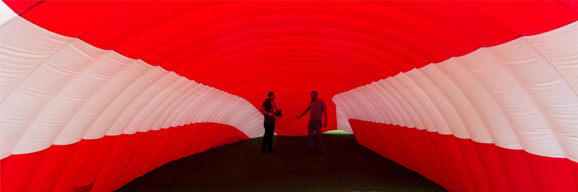 red inflatable tunnel
