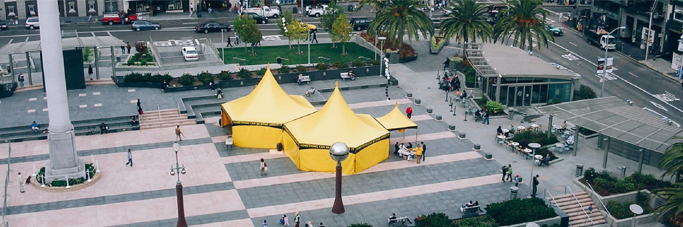 octagonal-scientology-tents-installed-in-union-square-park-in-san-francisco