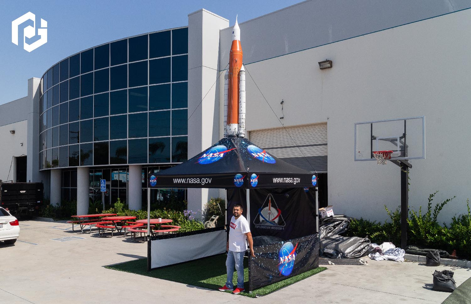 inflatable-rocket-on-top-of-nasa-pop-up-tent