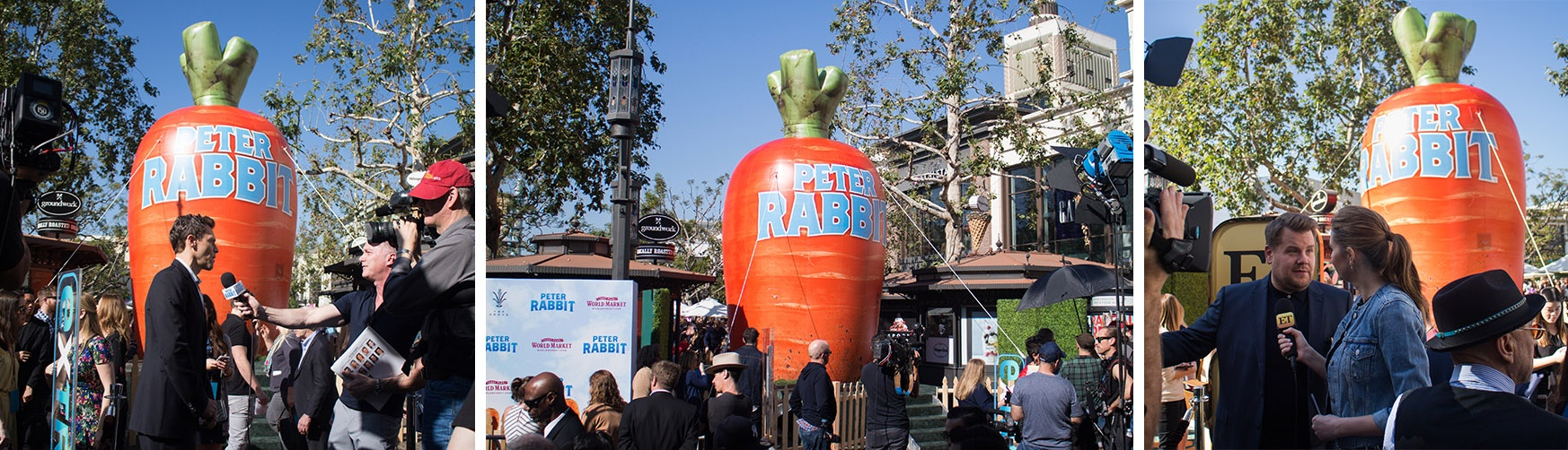 Peter Rabbit inflatable carrot installed at the grove for the premier of the Peter Rabbit movie- Header for Custom Inflatables