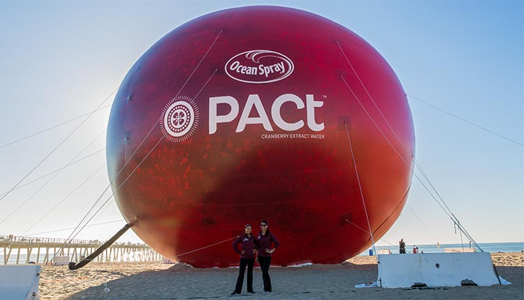 65' Inflatable Cranberry replica at the beach for Ocean Spray's Pact product reveal