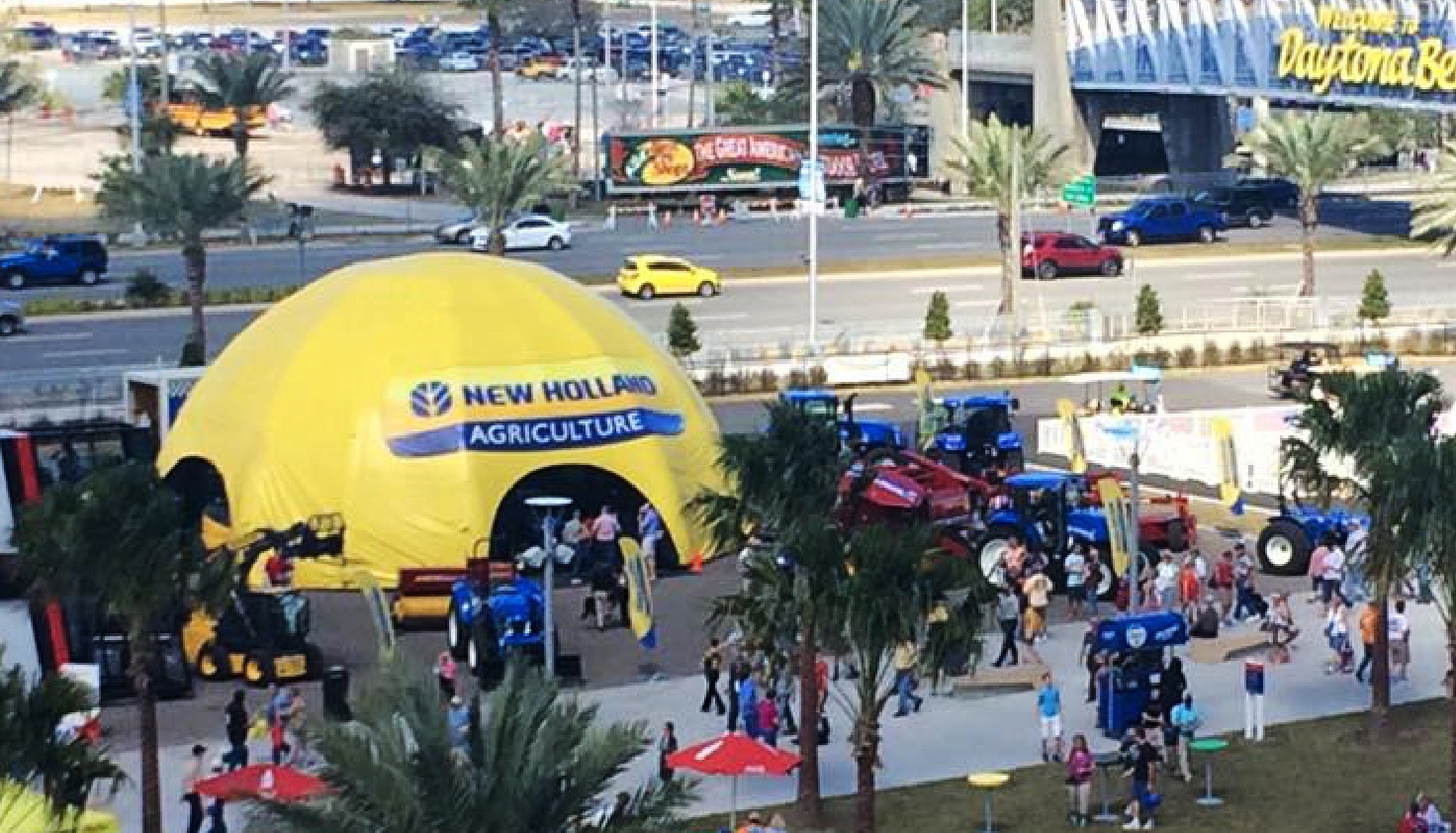 Yellow inflatable dome with a printed cover for New Holland Agriculture