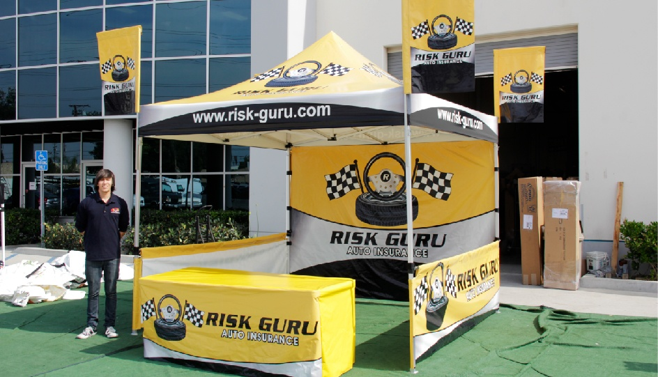Canopy flag package with printed tent top, custom canopy flags, printed full wall, table cover, and short side walls