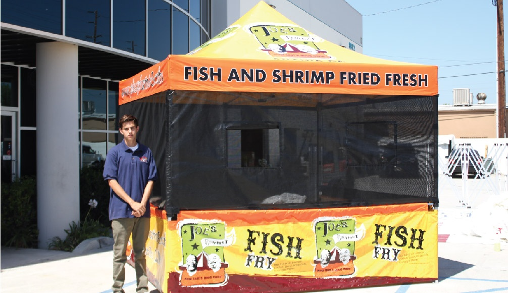 10x10 Food Booth Package printed with a Joe's Fish Fry